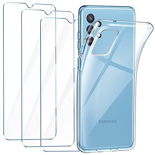 "LeathLux Funda Samsung Galaxy A32 5G, 3 Pack Protector de Pantalla Samsung Galaxy A32 5G, Transparente TPU Silicona Funda con Cristal Vidrio Templado y Carcasa Samsung Galaxy A32 5G 6.5"""
