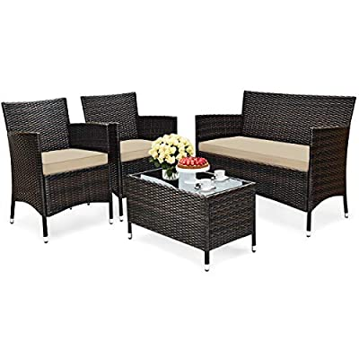 HAPPYGRILL 4-Piece Patio Furniture Set Outdoor Rattan Wicker Conversation Set with Cushioned Sofa and Coffee Table for Porch Backyard Garden Poolside