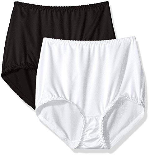 Vassarette Women's Undershapers 2-Pack Light Control Brief 40201, White/Black, Large/7