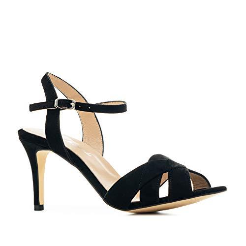 Andres Machado Sandalias de tacón Alto - Cierre Pulsera Hebilla - para Mujer/Chica - Zapatos de señora - en Ante Color Negro, Talla 44 EU