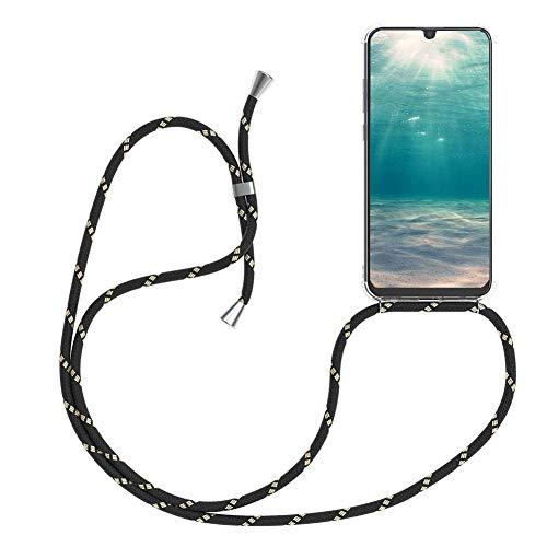 Ptny Case Funda Colgante movil con Cuerda para Colgar Huawei P9 Plus Carcasa Correa Transparente de TPU con Cordon para Llevar en el Cuello con Ajustable Collar Cadena Cordón en Oro Negro