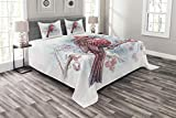 Lunarable Cardinal Bedspread, Bird on a Branch Holly Berries Perching Avian Animal Hand Drawn Design, Decorative Quilted 3 Piece Coverlet Set with 2 Pillow Shams, Queen Size, Blue Red