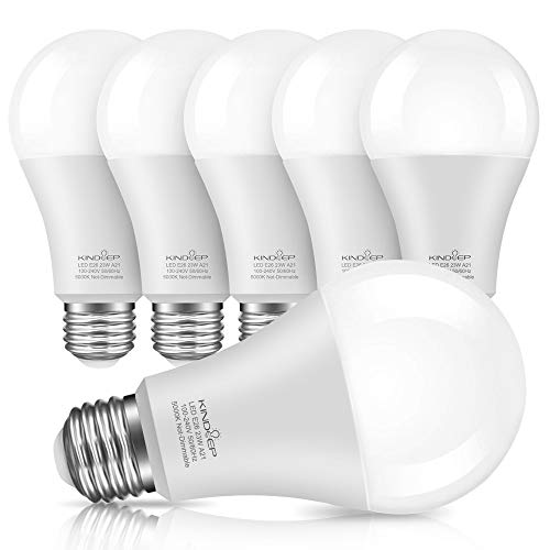 Kindeep E26 LED Bulbs, 150W-200W Incandescent Bulb Equivalent, 23W, A21 LED Light Bulbs, 2500 Lumens, Daylight White 5000K, Not-Dimmable (Pack of 6)