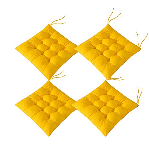 AIITLLYNA Chair Pads Set of 4, Chair Seat Pads with Ties Chair Cushions Dining Room for Garden Patio Kitchen Dining 40x40 cm (Yellow)