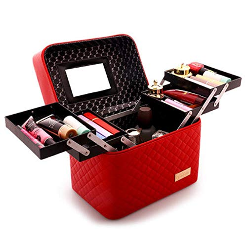 EMOHKCAB Women Large Capacity Professional Makeup Organizer Fashion Toiletry Cosmetic Bag Multilayer Storage Box Portable Pretty Suitcase,0102004-red