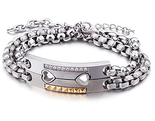 CHXISHOP Pulsera de acero de titanio para parejas, estilo clásico con rompecabezas, ideal para hombres, mujeres, parejas, plata