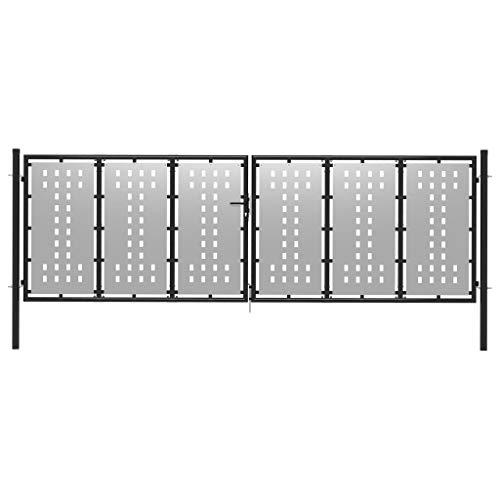 UnfadeMemory Gartentor Stahl Flügeltor Gartentür Zauntor Zauntür mit 2 Pfosten Metall Tor Gartenpforte Robustes Verriegelungssystem mit 3 Schlüsseln Silbern (400 x 125 cm)
