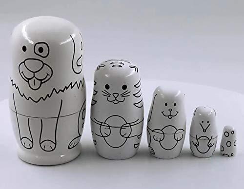 YXQSED Matryoshka Rusa, 5 Piezas Muñecas de anidación Juego de anidación de apilamiento de Madera Hecho a Mano Decoración de la habitación del hogar de Navidad Mascota Gato y Perro