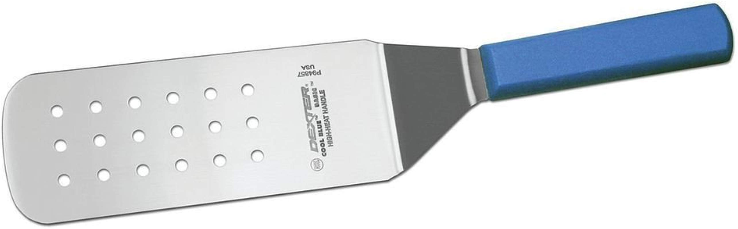 Dexter Cool Blue Basics Stainless Steel Perforated Turner With Blue Polypropylene Handle 8 L X 3 W Blade