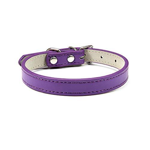 Pet Supplies - Collar de piel para perro, resistente, flexible, correa para cuello de cachorro ajustable para perro pequeño mediano grande, grande, collar de gato, color morado