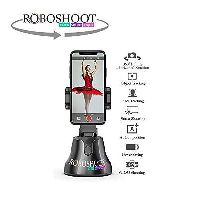 ROBOSHOOT Selfie Stick 360 Rotation Smart Track & Shooting Robot Cameraman - Auto Object/Face Tracking Holder, AI-Composition Super Camera Mount Tripod for Smartphone and Camera.