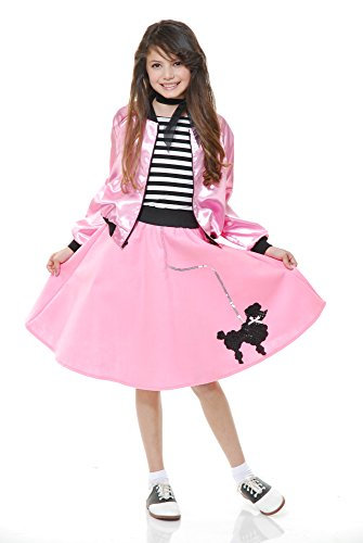 Charades Poodle Skirt with Elastic Waistband Girl's Costume, Pink, X-Small