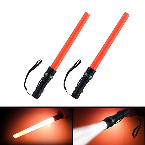 2 Pieces 16 inch Safety Traffic Control Wands Lights with Metallic Clip and Wrist Strap, for Parking Attendant, Traffic Directing Flashlight, Using 3 AAA Batteries (Not included)