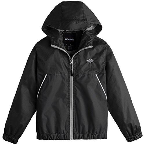 Wantdo Boy's Lightweight Hooded Rain Jacket Waterproof Outerwear with Zipper for Walking(Black, 8)