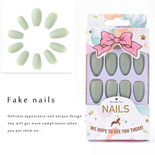 Victray Coffin Frosted Press on Nails Matte False Nail Acrylic Nail Tips Full Cover Fake Nails for Women and Girls (24PCS) (Green)