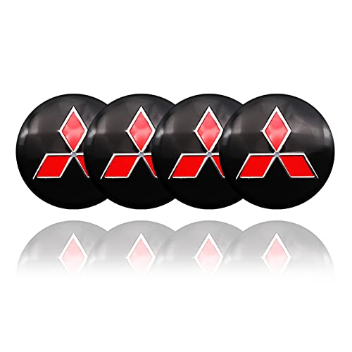 RHGEIUCY 4pcs Coche de Rueda de automóvil Caps Caps Caps Wheel Rim Badge Cubiertas S T Logo para Mitsubishi ASX Outlander XL 3 Lancer Pajero 4 L200 Lancer Ex