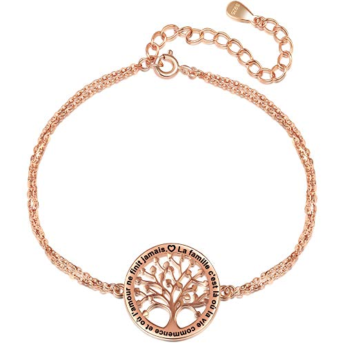 LOVORDS Bracelet Femme Gravé Argent 925/1000 Arbre de Vie...