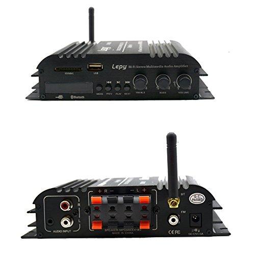 LEPYBluetoothパワーアンプ小型45WX4チャンネルUSB/SDカード再生可Hi-Fiステレオデジタルアンプ高性能FM高音質家庭用カーアンプ重低音リモコン付きLED液晶12V5Aアダプター付属