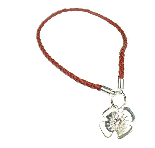 Beads R Us  - Red Braid Real Leather and Sterling Silver Clip & lock clasp, clip and stopper opener - For snap clasps and Clips on Pandora, Biagi, Troll, and all European charm bracelets.