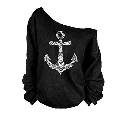 Perfectii Damen Pullover, Stylische Sweatshirts Anker Druck Langarm Sweatshirts Off Shoulder T-Shirt Tops