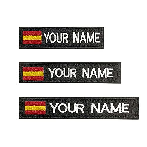 Parches personalizados con nombre militar, 2 piezas Parche táctico bordado personalizado de la bandera española con gancho y bucle, para mochilas Camisa de trabajo uniforme