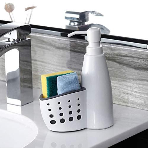 LiSh-EC Caja de Almacenamiento dispensador de jabón líquido con Cesta de Almacenamiento de Rack de Esponja