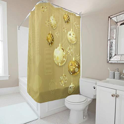 XHJQ88 - Gouden douchegordijn Personaliseer Gemakkelijk Wassen Badkuip Gordijnringen Inclusief Kerstbal Thema Print voor Badkamer Decoreren
