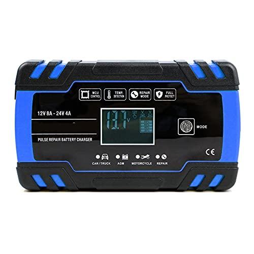LVYE1 MRMF Cargador De Batería De Coche, Cargador De Batería 12V / 24V Cargador De Batería Inteligente Mantenedor con Pantalla LCD
