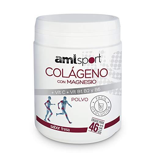 AMLsport – collageen met magnesium + vitc C, B1, B2 en B6 – 350 g (safor aardbei) sterke gewrichten textielregenerator met gehydrolyseerd collageen type 1 en 2. 46 dagen behandeling.