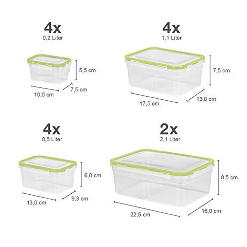 GOURMETmaxx 02432 behållare för färskhållning klick-it, lufttäta förvaringslådor, 28 delar, lämplig för mikrovågsugn, kylskåp och diskmaskin, plast Bpa fri
