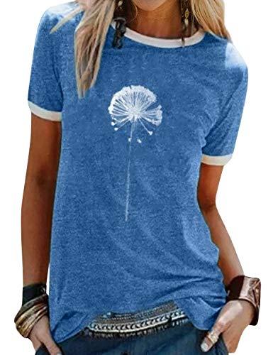 Dresswel Damen Pusteblume Löwenzahn T Shirt Blume Drucken Oberteile Sommer Top Rundhals Kurzarm T-Shirt Bluse