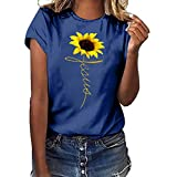 WUAI-Women T-Shirts,Casual Short Sleeve Sunflower Print Slim Fit Tunic Tops Blouse Plus Size Camisas para Mujeres(Navy,Medium)