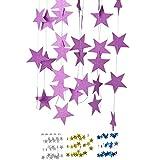 DIWULI, 4 m XXL Stella Stella Ghirlanda da Appendere, Stella gagliardetto a Catena Rosa, Stella Bandiera Bandiera Festa di Compleanno, Festa in Giardino, Ragazza Ragazzo vivaio, Decorazione