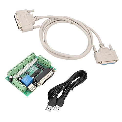 5 Achs Schrittmotor Schnittstellenkarte, Motion Control Karte MACH3 5 Achsen USB Interface Breakout Board für CNC Schrittmotor, mit USB Kabel und Paralleles Anschlusskabel, 12-24V DC