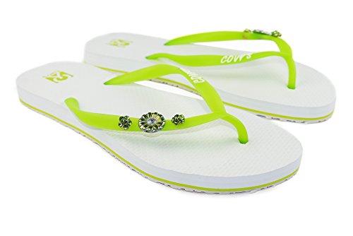 COVY'S jandals Green Tea/White #5115 Women (Zehentrenner, Sandale, DIY, Pins)