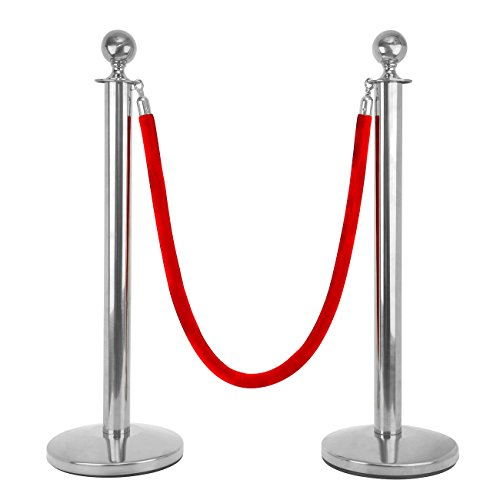 Iglobalbuy Abgrenzungsständer Personenleitsystem,ein Set(2xStanchion) Absperrpfosten mit roten Seil 150cm•Pfosten•sicher Stand (Silber)