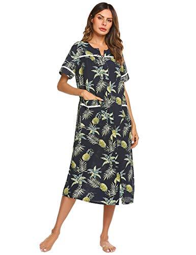 Ekouaer Loungewear Women Snap Front Duster Robe Short Sleeve Sleepwear Full Length Nightgown (Pattern,XL)