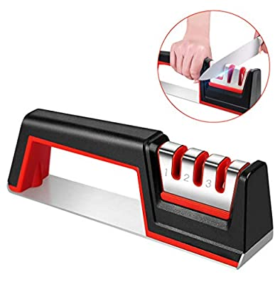 Knife Sharpener - Karrong Professional More Stable & Safety 3 Stage Anti-Slip Manual Sharpener Tool for Kitchen Knives with Ceramic, Tungsten Steel, Diamond Abrasives Grinding