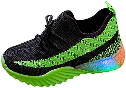 Zapatillas de Unisex Ligera y Transpirable en Verano Malla Tejida voladora Antideslizante para niños Unisex con Luces LED Zapatos Brillantes Zapatos radiantes Zapatillas Deportivas