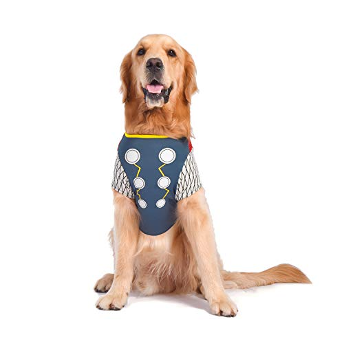 Marvel for Pets FF12288 Marvel Comics Thor Costume for Dogs | Halloween Costume for All Small Dogs, Black