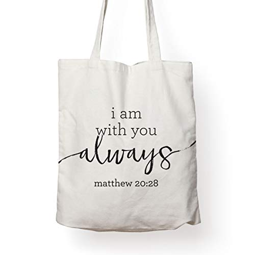 Christian Religious Bible Verse Canvas Reusable Tote Bag – I WILL BE WITH YOU ALWAYS Perfect for Beach, Grocery, Shopping, Travel Handbag and Book Bag for Women Men Kids. Ideal Christian Gift!