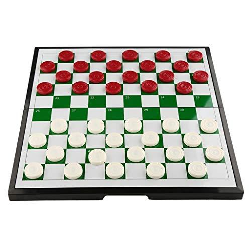 Zyj-Chess Ajedrez de Viaje Damas Internacionales portátil de plástico Juego de ajedrez magnético Plegable Damas Juego de Mesa Ajedrez Regalo de los niños Juego de ajedrez (Color : 100 Grid)