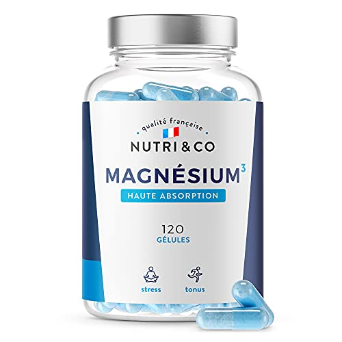 Magnésium Végétal + Vitamine B6 Bio-active | Teneur Égale au Magnésium Marin & Absorption Supérieure au Bisglycinate | 120 Gélules 300mg /j | Malate & Liposome de Magnesium | Made in France | Nutri&Co