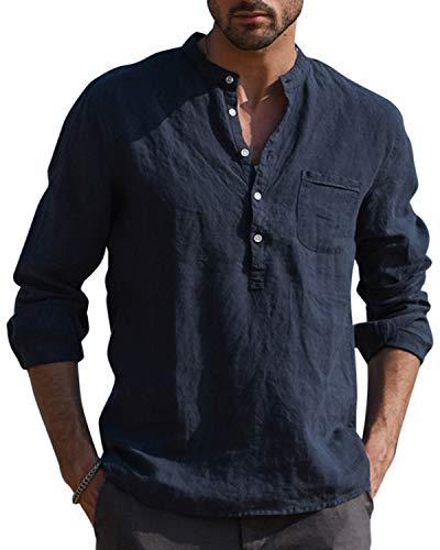 AUDATE Freizeithemd Herren Hemden Leinenhemd Henley Länge Ärmel reguläre Passform Kragenloses Shirt Marine XL