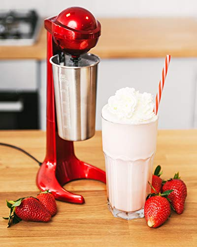 LIVIVO 2020 Model Red Retro Style 100W Milkshake Maker Milk Frother Machine with 500ml Stainless Steel Mixing Cup for…