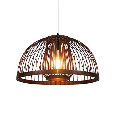 A-Lnice Lampadario in legno vintage Bambù naturale e midollino intrecciato a mano Gabbia per uccelli Lampadario di pelle di pecora Paralume è il soggiorno, camera da letto, ristorante, bar, negozio di