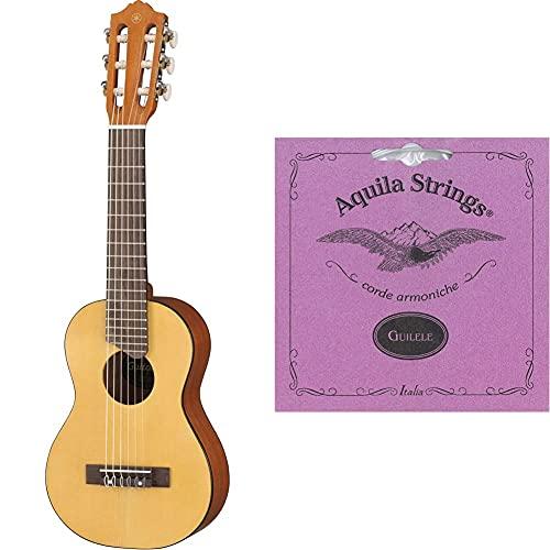 Yamaha GL-1 Guitalele natur – Perfekter Hybrid aus Gitarre und Ukulele – Kleine 1/8 Reisegitarre aus Holz inkl. Gigbag & Aquila 96C Classical Guitar Guitalele/Guilele Komplett-Satz