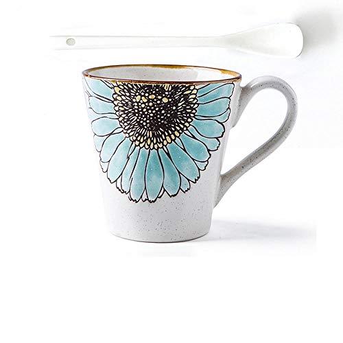 HUANGHHLL Sun Flower Creative Western Style Simple Ceramic Belt Coffee Couple Milk Breakfast Cup of Water Mug-5