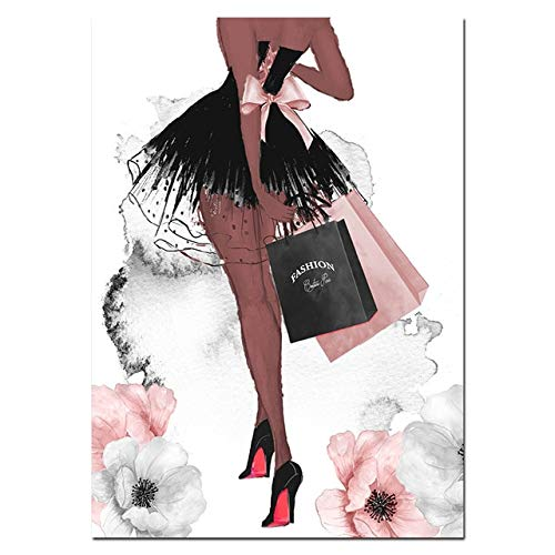JXMK Decoración para el hogar Perfume Labios Cartel nórdico Tacones Altos Lienzo Pintura Moda Mujer Arte de la Pared para Sala de Estar 40x50 cm sin Marco