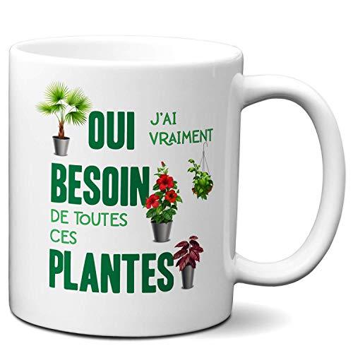 Taza de regalo para enamorados de las plantas – Necesidad de todas estas plantas – Jardinero ecológico a mano verde jardín
